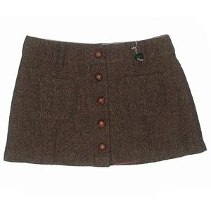 Brown Wool Mini Skirt sz 4